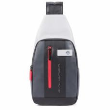 Рюкзак с одной лямкой Piquadro CA4536UB00/GRN кожаный черно-серый