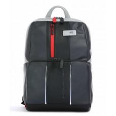 Бизнес-рюкзак кожаный Piquadro с подсветкой CA3214UB00L/GRN черно-серый