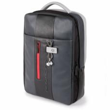 Бизнес-рюкзак кожаный с расширением Piquadro CA4840UB00/GRN черно-серый